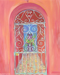 """Iron Gates on Rainbow Row"" II (coral) vertical"