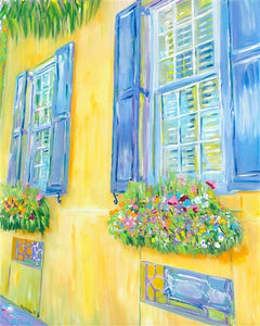 """Charleston Windows"" II (yellow house) vertical"