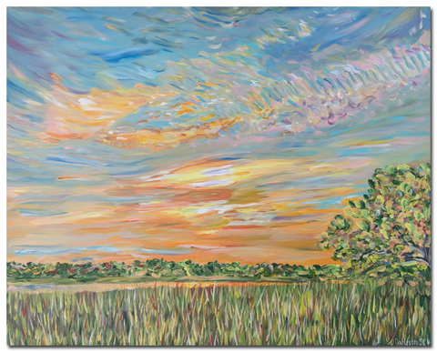 """Sunset on the marsh"" I (with the tree)"