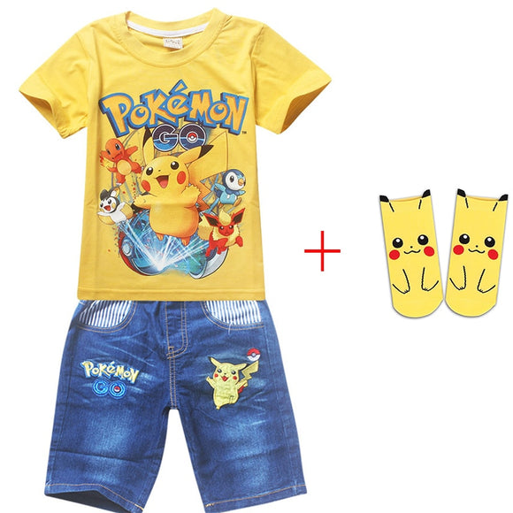 Summer Boy Cotton Clothing Sets Pokemon Go Short Sleeve T-Shirt+Jeans Set For Boys Cartoon Pikaqiu Baby sport Suit with Sock