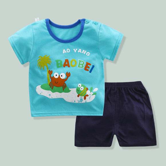 Luan Blanco Summer Baby Suits Short Sleeve Cotton Children's Sets Tops+Pants Boys Suit Babe Kids Boy Cartoon Printed Clothes