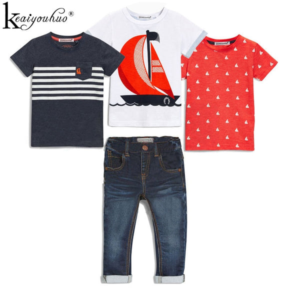 High Qulity 4Pcs Boys Clothes Sets Summer Children Clothing Baby Boy Sport Suit T-shirt+Jeans Costume For Kids 2 3 4 5 6 7 Years