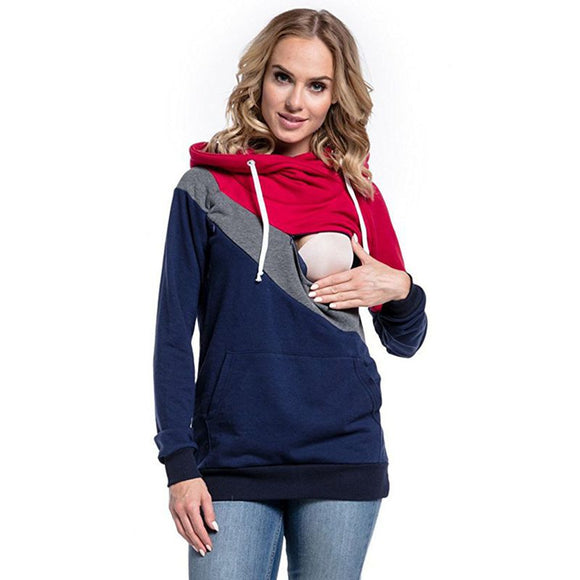Maternity Clothes Fashion Multifunctional Mother Breastfeeding Hoodies T-shirt Stitching Breastfeeding Pregnancy Womens Clothing
