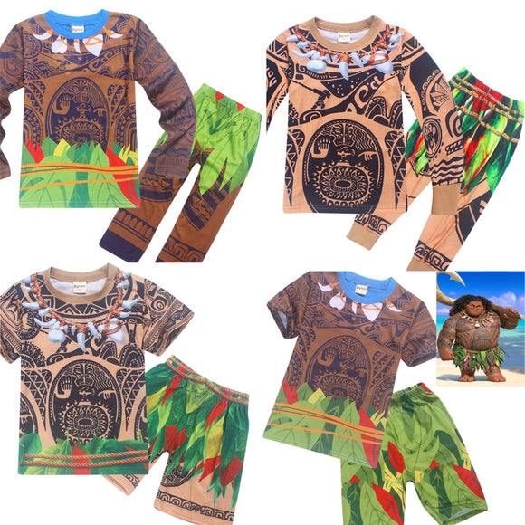 2018 New Summer Pyjama spring Maui Little Boys Sets 2 Pcs For Kids Clothes Sleepwear Moana costumes pyjamas baby boys pijamas