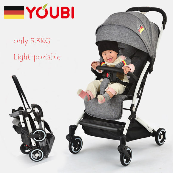 YOUBI Portable Baby Stroller 5.3KG Lightweight Travel Pram Foldable Sitting & Lying Mode Pushchair For 0-3 Year Kids Be On Plane