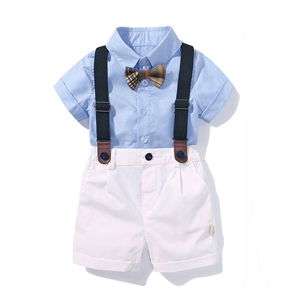 Clothing for Boys Baby Bow Set Birthday Formal Suit Summer Newborn Baby Clothes Set  Blue Shirt Top+Suspender Pants Outfits