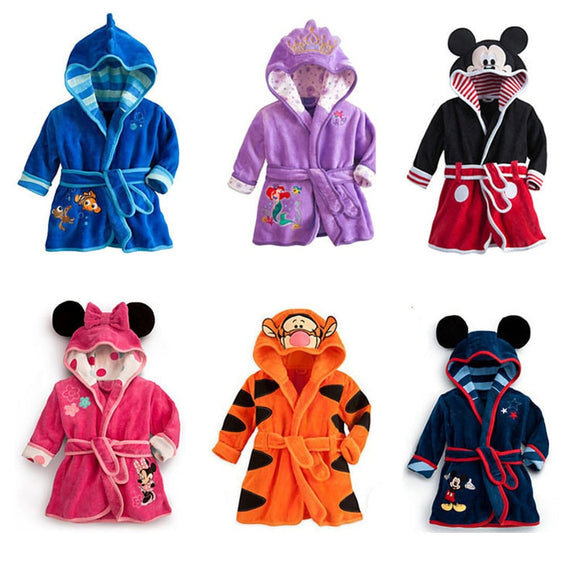 Cartoon Childrens bathrobe Minnie Mickey Baby Robe Pajamas Soft Flannel Lovely Hooded bathrobe Boy Girls Robes Kids Clothes 2-6Y