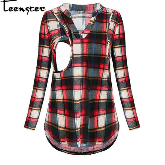 Teenster Maternity Shirt Woman Blouses and Tops Plaid Nursing Clothes Maternidad Long Sleeve Fall Womens Clothing Breastfeeding