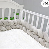 2M 3M 4 Knot Soft Newborn Baby Bed Bumper Crib Sides 4 Braid 2 Meter Newborn Crib Pad Protection Cot Bumpers Bedding for Infant