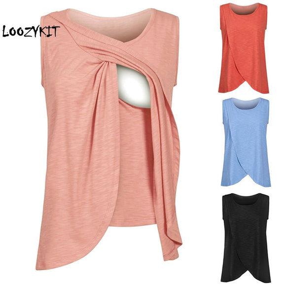 Loozykit Torridity Women Maternity Nursing Tops Cotton Maternity Breastfeeding Top Pregnancy Lactation T-Shirt Breastfeeding Cloth