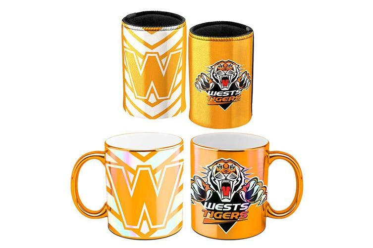 West Tigers Metallic Can Cooler & Mug Pack