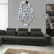 "Load image into Gallery viewer, 20""H Modern Style Round Circles 3D DIY Acrylic Mirror Wall Clock"