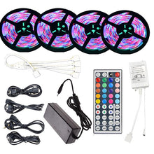 Load image into Gallery viewer, KWB 20M(4*5M) 2835 RGB 1200 LEDs 8mm Strip Flexible Light LED IR 44Key Remote Controller with EU/US/AU/UK Power Supply AC110-240V LED Light Strip Kit