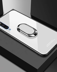 Tempered Glass Case for Samsung Galaxy A70 A50 A40 A30 A20 A10 Case Luxury Hard Tempered Glass With Stand Ring Magnet Protective Back Cover Case for samsung A9 2018 A7 2018