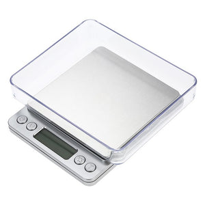 500g/0.01g LCD-Digital Screen Auto Off Electronic Kitchen Scale Digital Jewelry Scale Mini Pocket Digital Scale with 2 Trays