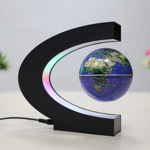 Magnetic Levitation Floating World Map Globe with C Shape Base Levitation Globe with LED Light for Kids Home Office 100-240V(US Plug EU Plug)
