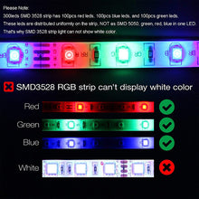 Load image into Gallery viewer, ZDM 10M(2*5M) Waterproof 2835 RGB 48W 600 LEDs 8mm Strip Flexible Light LED with 44Key IR Remote Controller Kit and 1BIN2 Connecting line(DC12V)