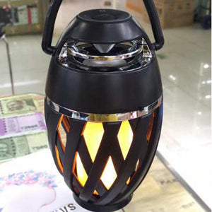 1pc Bluetooth Speaker USB Led Flame Lights Outdoor Portable Led Flame Atmosphere Lamp Stereo Speaker Outdoor Camping Woofer Mini