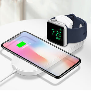 2 in 1 Fold Wireless Charger For iPhone X XS Max XR Samsung S8 S9 10W Fast Wireless Charging Pad for Apple Watch 3 2 1 Charger