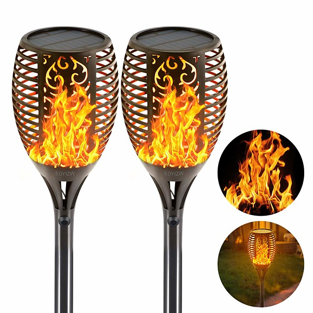 Solar Flame Torches Lights Garden Light Outdoor Lighting Flickering Dancing Landscape Auto On Off 99 LEDs IP65 Waterproof Pathway Yard Patio 2 PCS