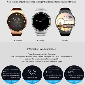 KW18 Smart Watch BT 4.0 Fitness Tracker Support Notify & & Heart Rate Monitor Compatible Samsung/HUAWEI Android Phones & IPhone