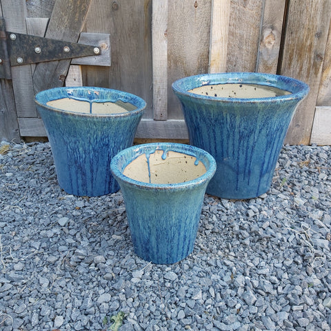 Glazed Ceramic Planter - Bahama Blue