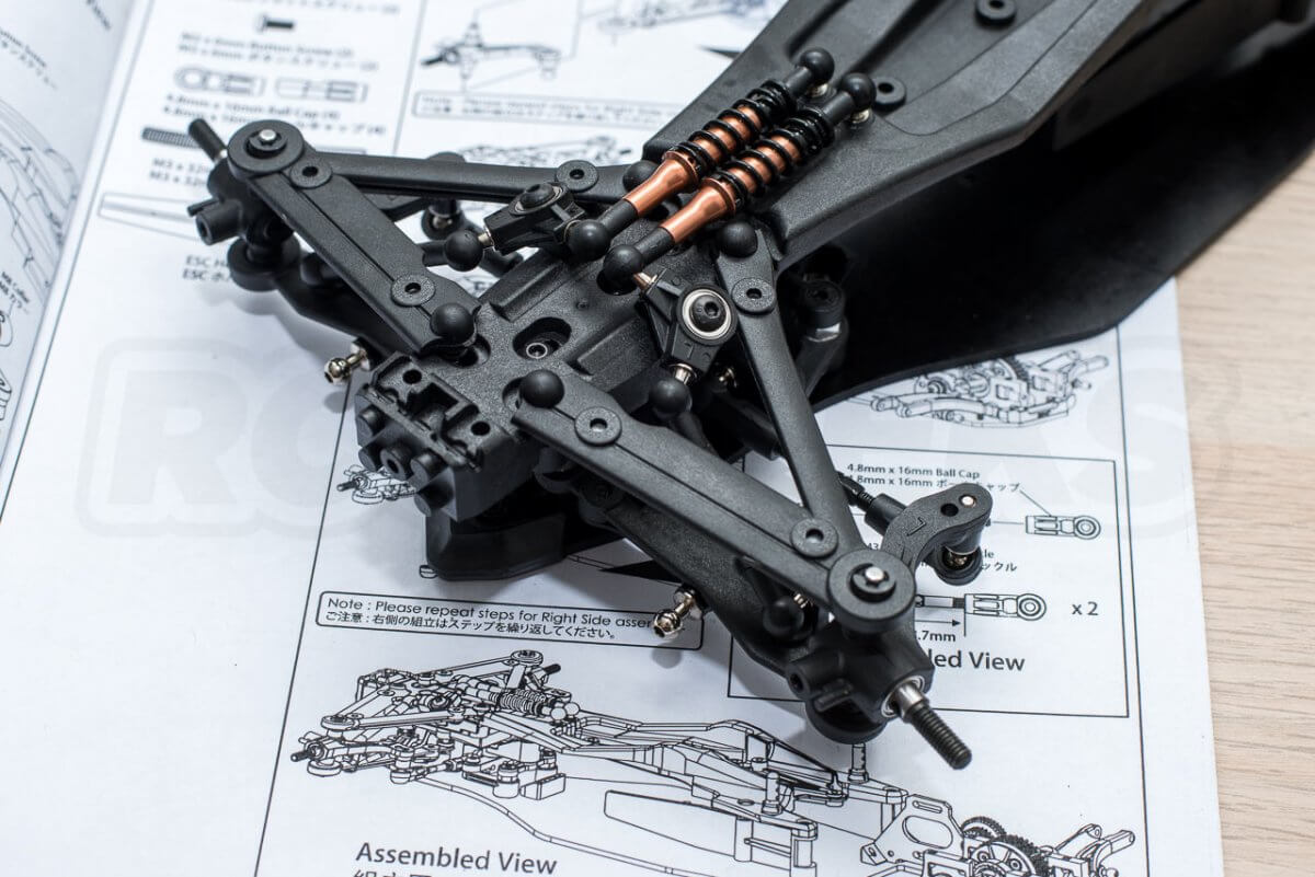 3Racing Sakura FGX2018 F1 Car kit build 5 front suspension arm assembly completed