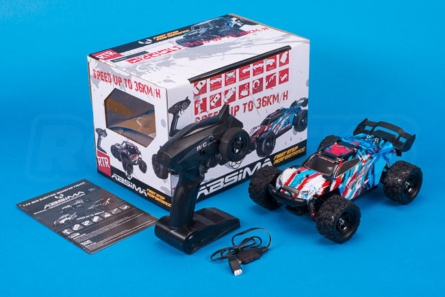 Absima Hurricane Thunder 18th scale rc truggy monster truck review unboxing box contents