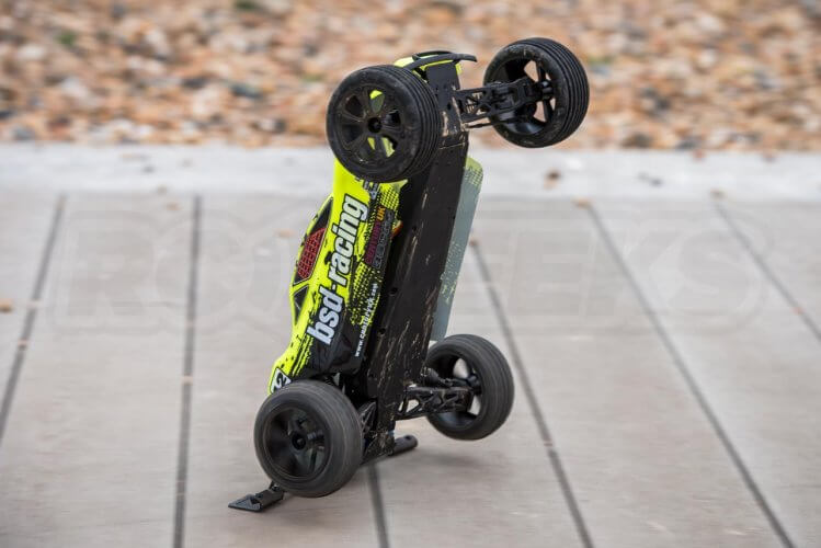 BSD Racing Flux Storm V2 Truggy Review big wheelie up on bumper