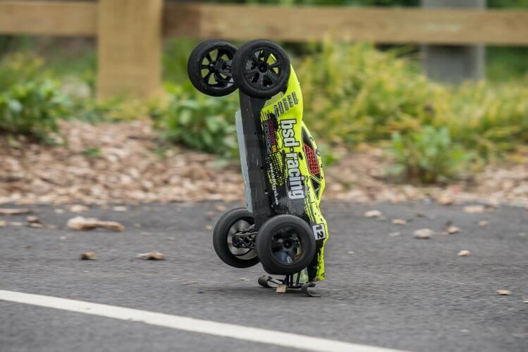 BSD Racing Flux Storm V2 Truggy Review tarmac wheelie on rear bar