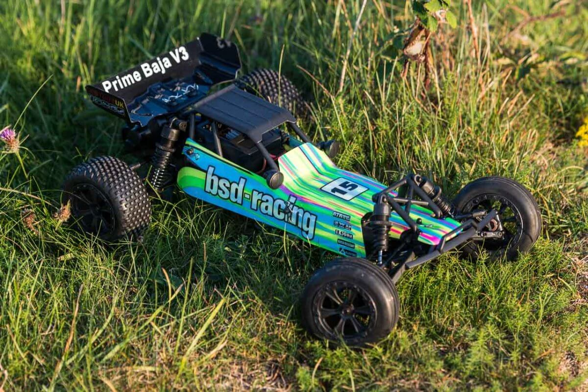 BSD Racing Prime Baja V3 Brushed Buggy green yellow livery
