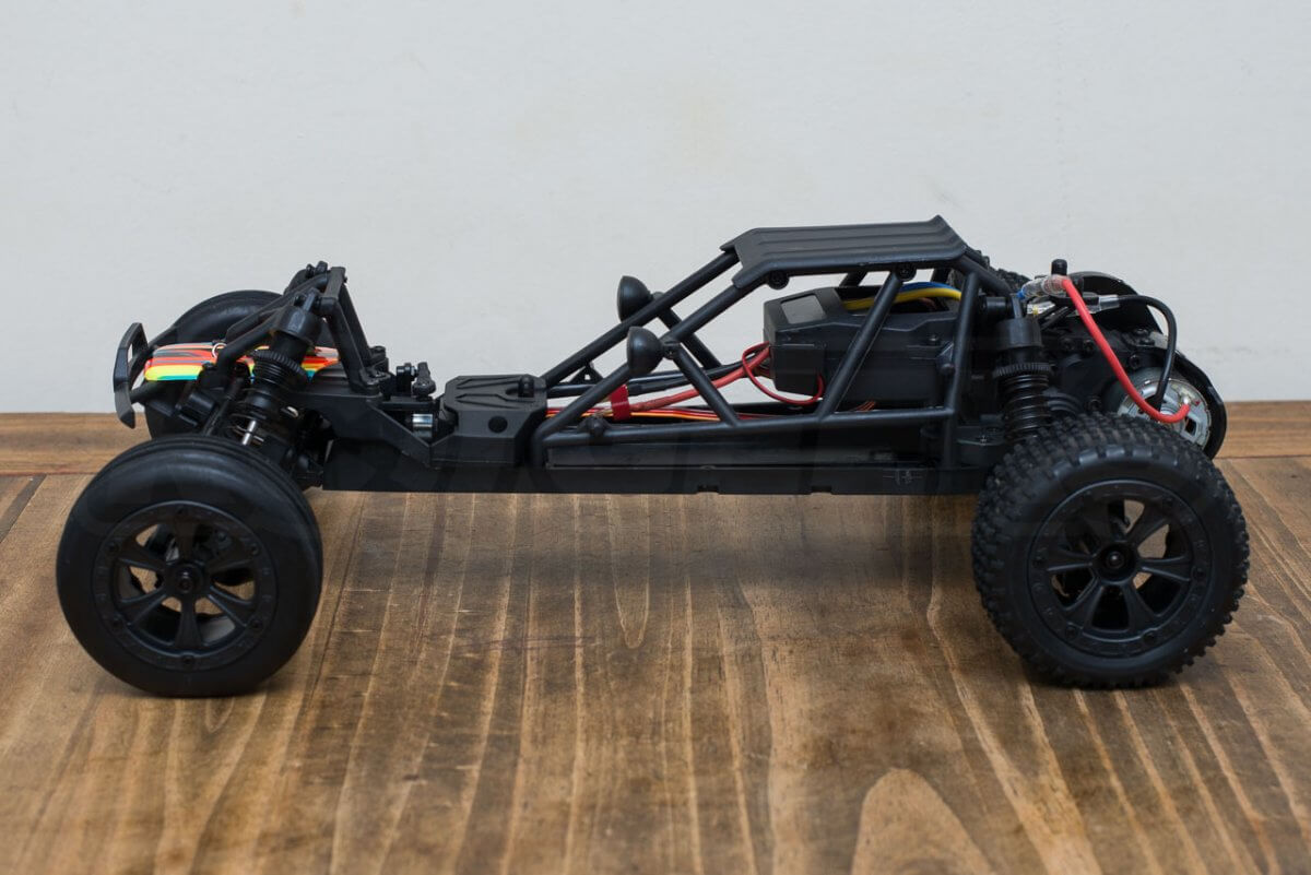 BSD Racing Prime Baja V3 Brushed Buggy review chassis side on