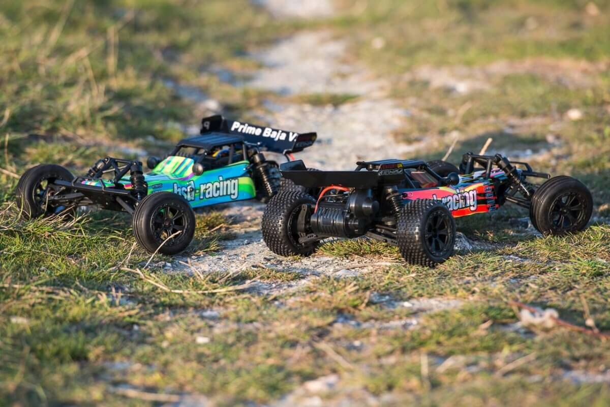 BSD Racing Prime Baja V3 Brushed Buggy two colourways front rear