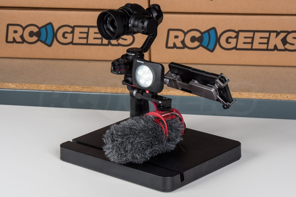 Official DJI Osmo X5 Adapter with manfrotto lumie art led and videomic go rode mic