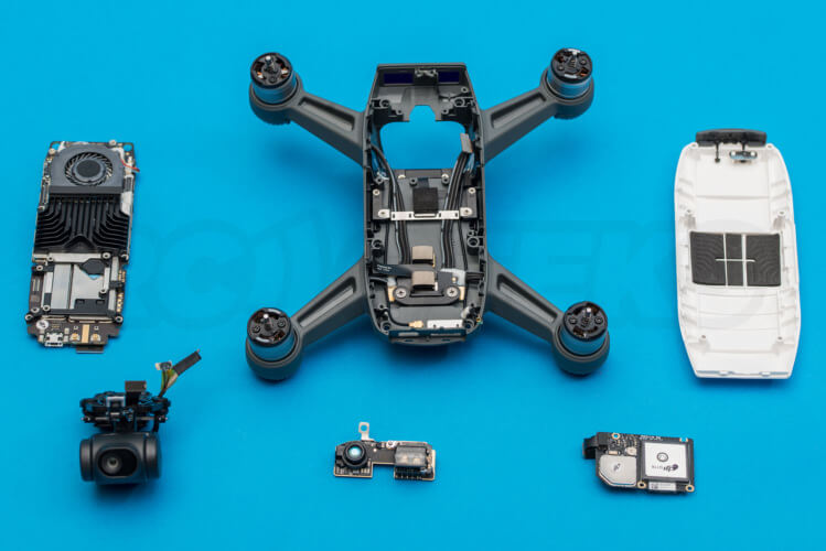 DJI Spark Teardown components separated dismantled