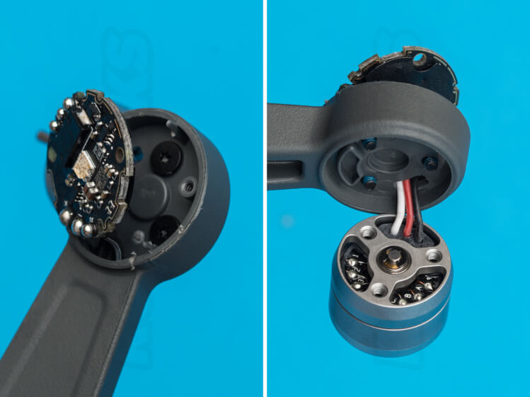 DJI Spark Teardown remove motor from arm unscrew