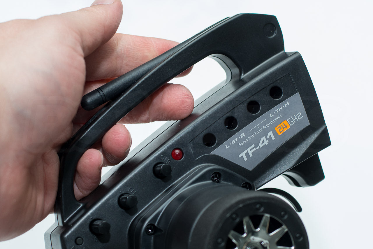 HPI Racing E10 Drift Nissan GT-R R34 Review TF-41 Transmitter handle