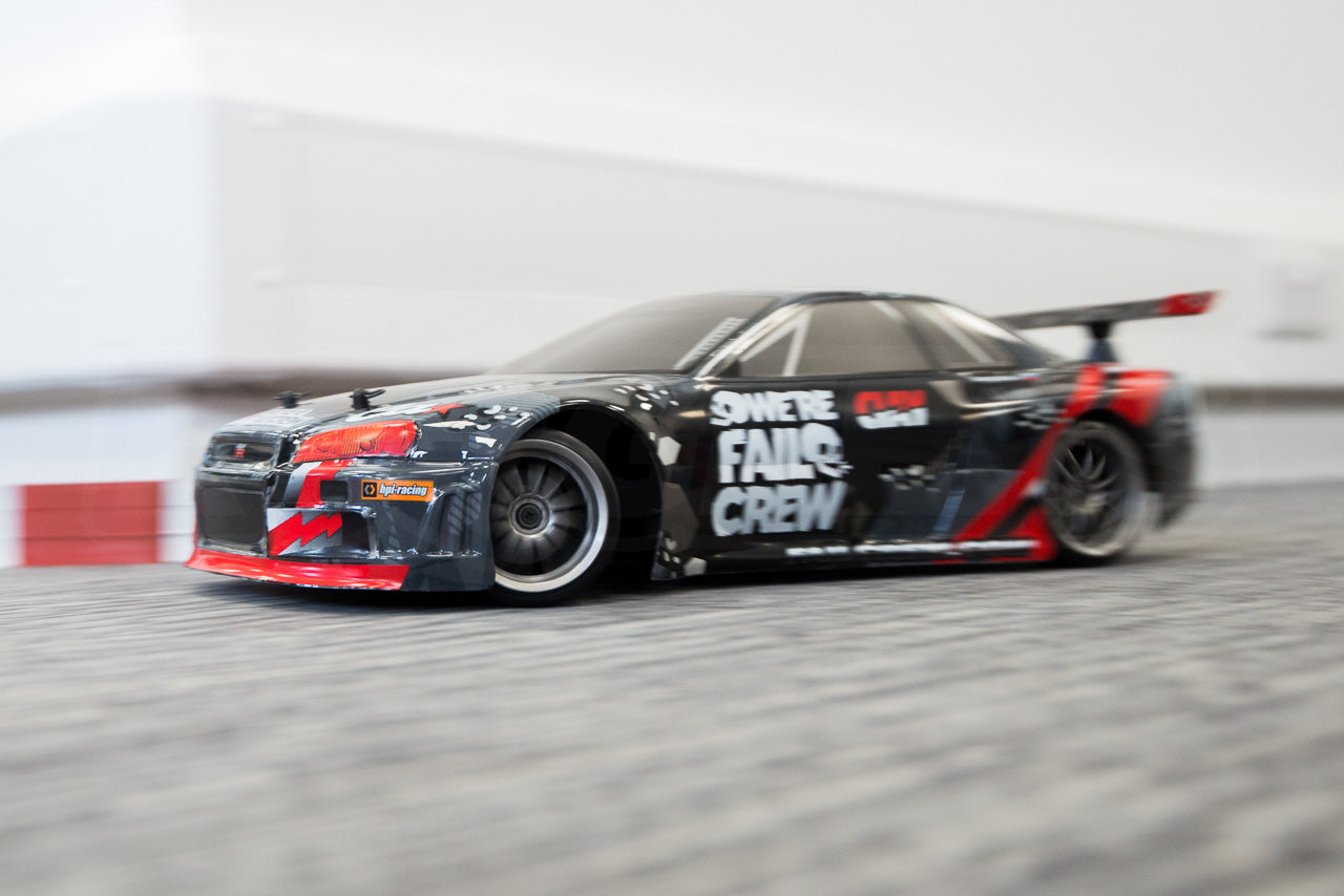 HPI Racing E10 Drift Nissan GT-R R34 Review indoor drifting blur speed