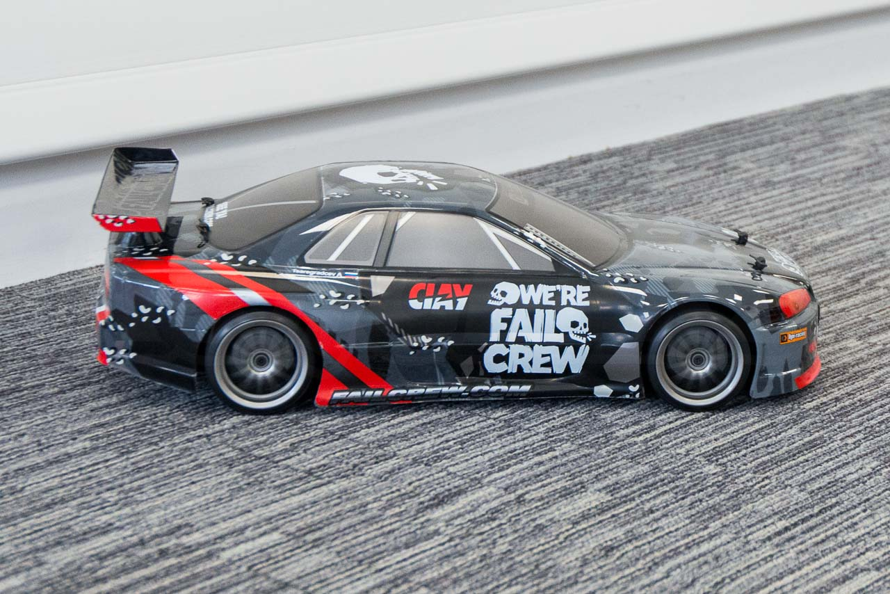 HPI Racing E10 Drift Nissan GT-R R34 Review indoor drifting wheelspin