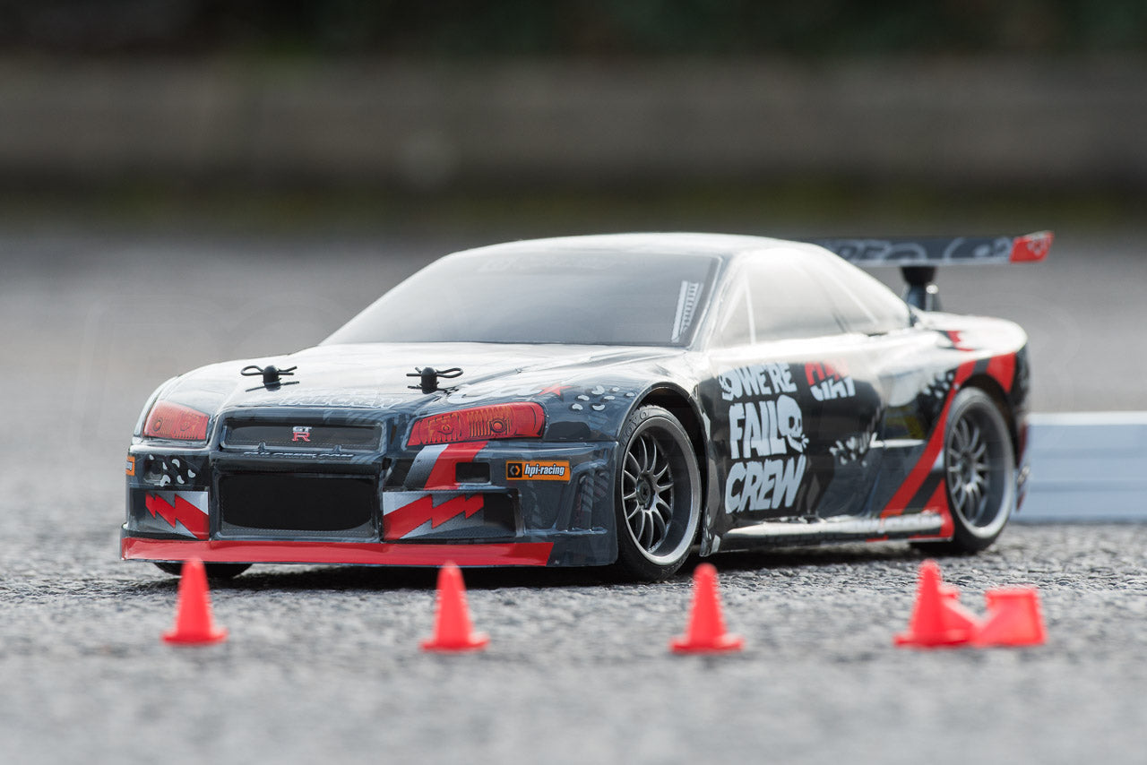HPI Racing E10 Drift Nissan GT-R R34 Review outdoor posed with cones alternate