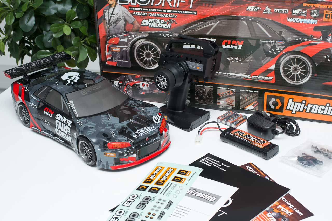 HPI Racing E10 Drift Nissan GT-R R34 Review unboxing box contents