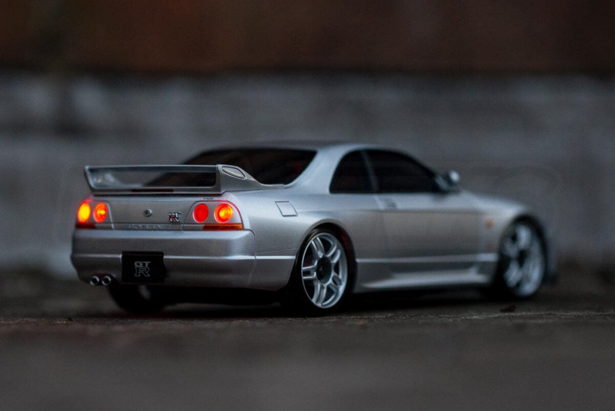 Kyosho Mini Z Drift cars review Skyline R33 light kit fitted rear