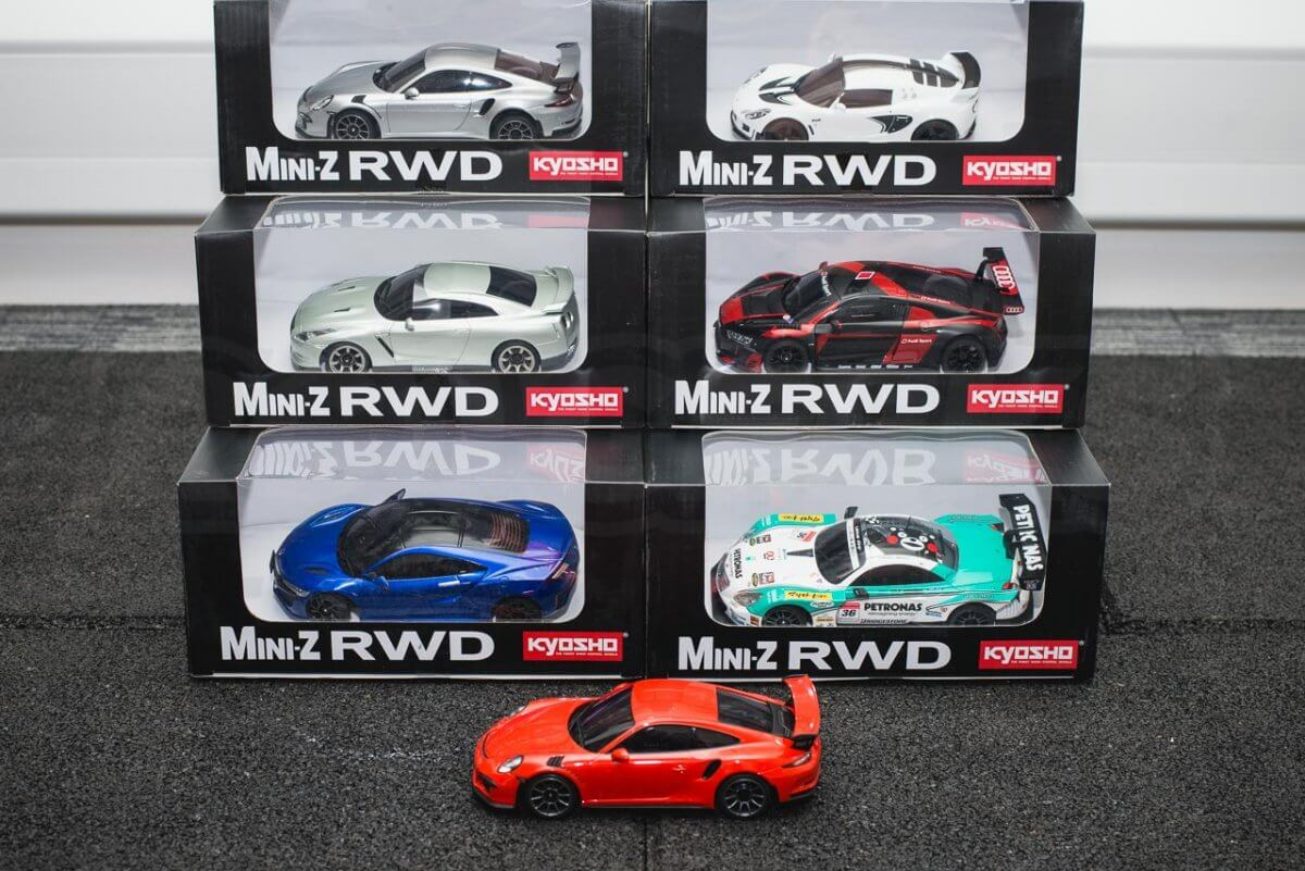 Kyosho Mini-z range rwd awd overview introduction RWD 911 GT3 Remote in stock models