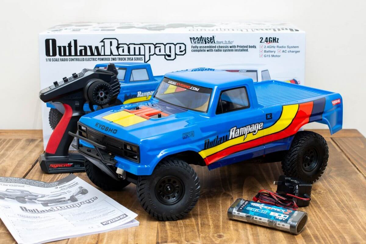 Kyosho Outlaw Rampage Review Unboxing Box contents