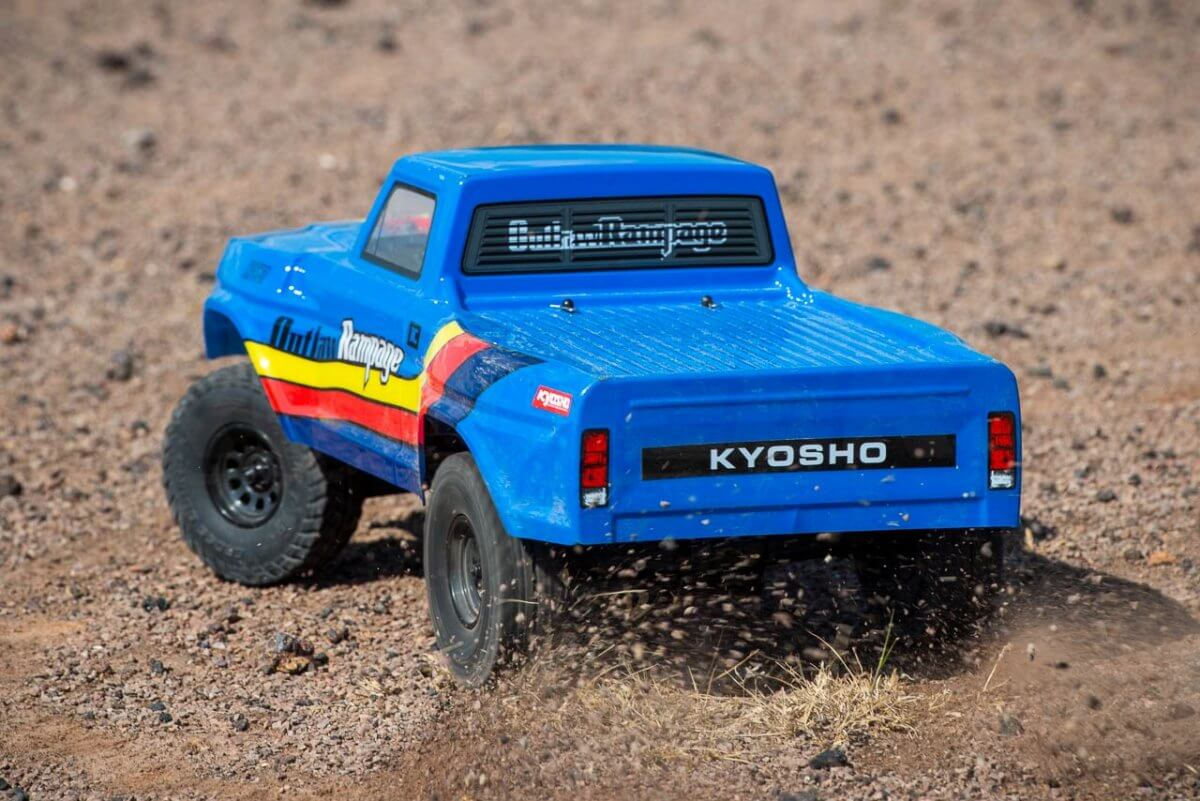 Kyosho Outlaw Rampage Review on dirt powerslide rear