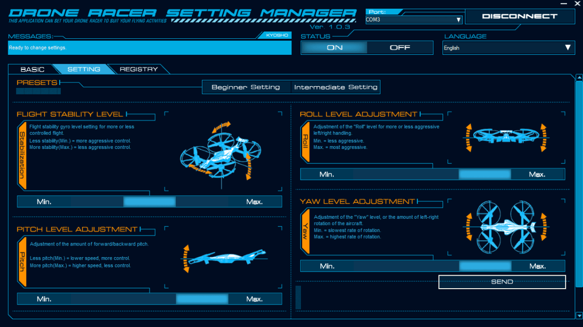 Kyosho Zephyr Force Drone Racer Setting Manager Settings
