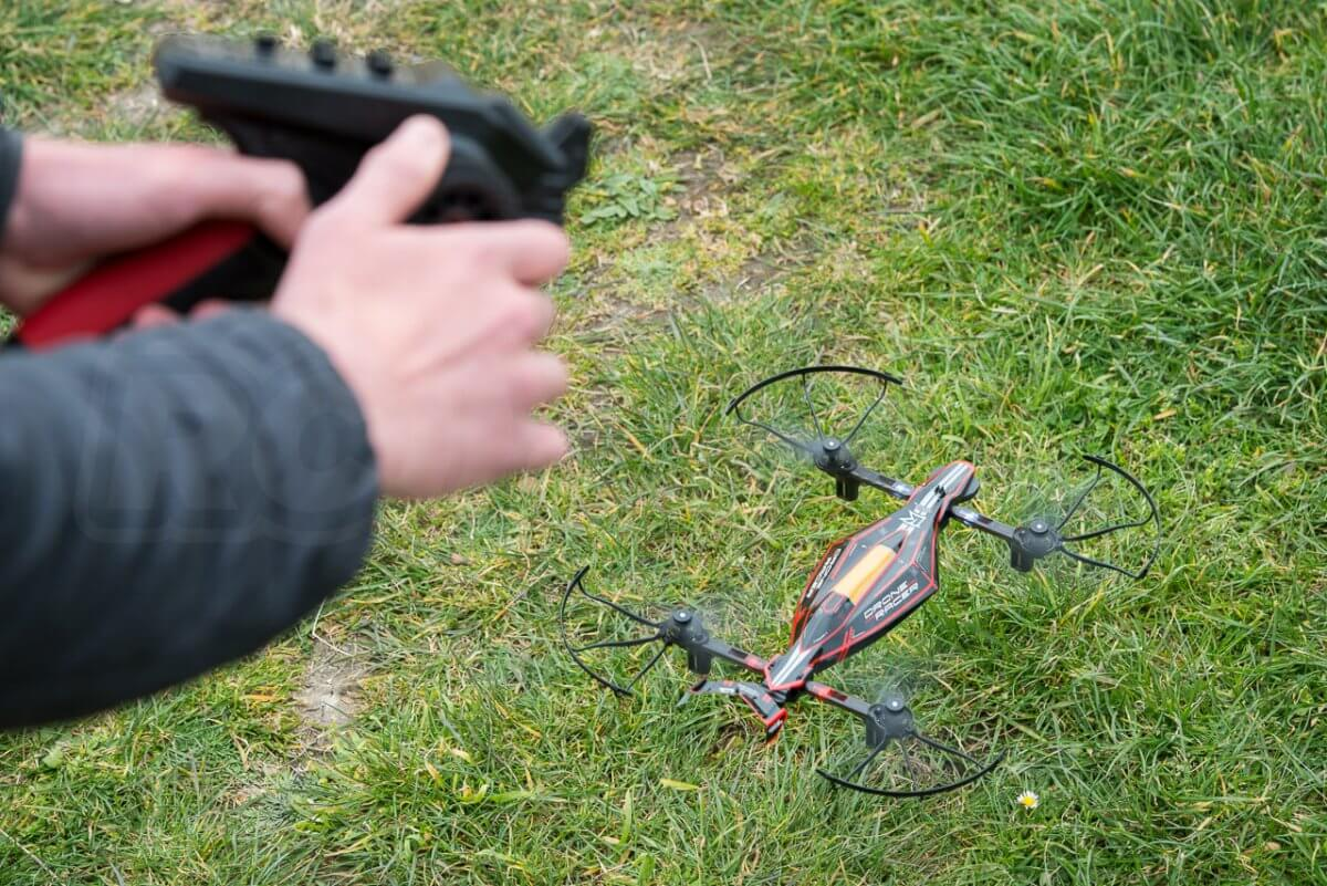 Kyosho Zephyr Force Racing Drone Review transmitter take off lift off