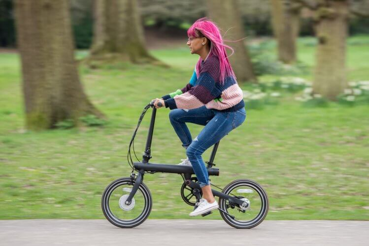 QiCycle electric folding bike in the park