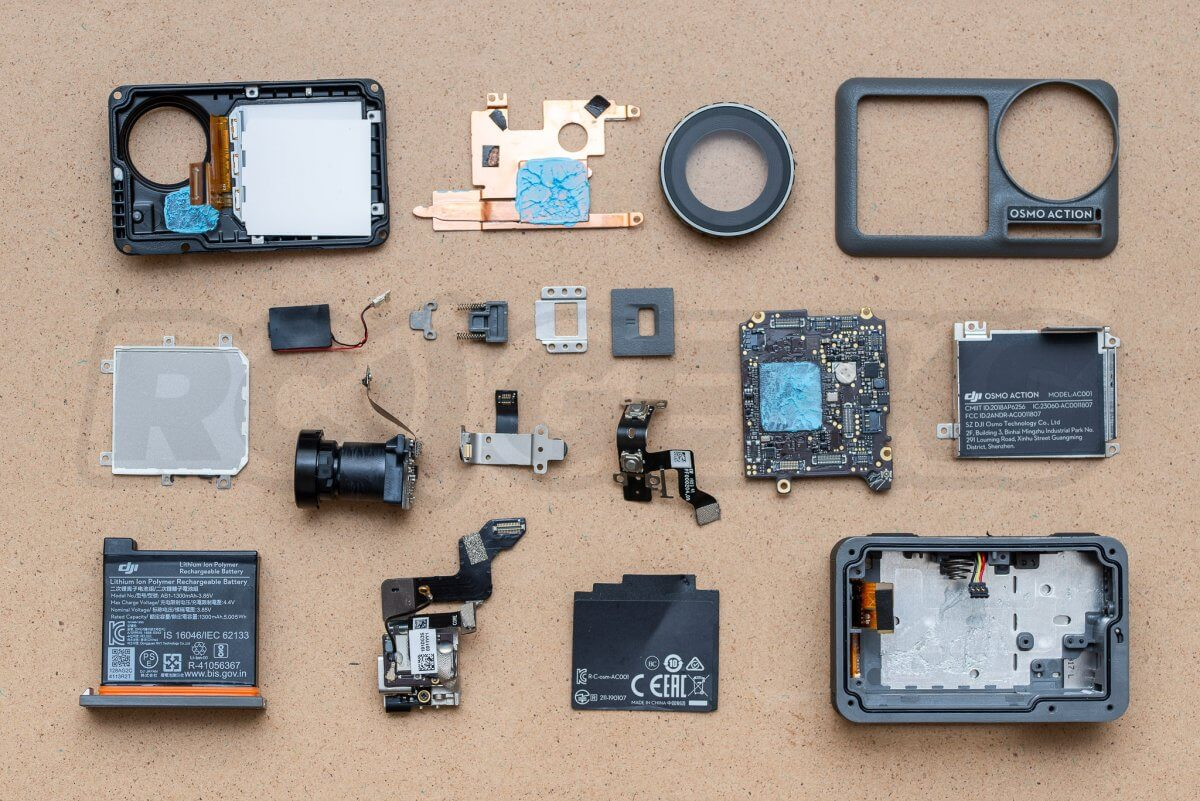 RCGeeks Osmo Action Teardown assembly components parts layout exploded diagram