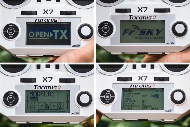 Taranis Q X7 open tx menu display